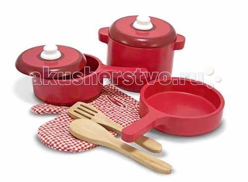 Деревянная игрушка Melissa & Doug Готовь и играй Набор кухонных принадлежностей 12610