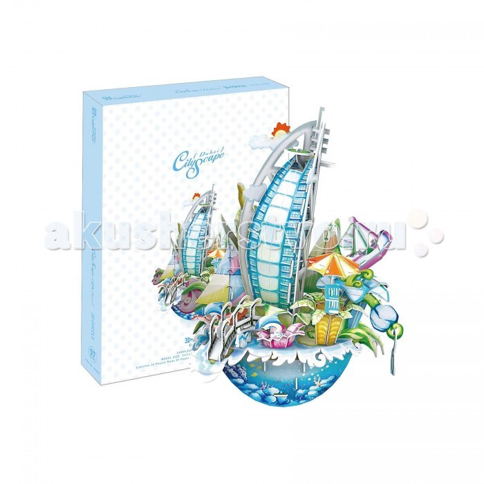CubicFun 3D пазл Городской пейзаж Дубаи3D пазл Городской пейзаж Дубаи3D пазл Городской пейзаж в виде основных достопримечательностей Дубая в одном наборе от Cubic Fun станет прекрасным подарком, как ребенку, так и взрослому! Этот замечательный пазл можно собирать всей семьей, увлекая ребенка в мир путешествий.   Домик собирается без использования клея и ножниц, делая этот конструктор уникальным. Детали легко выдавливаются из картона и соединяются между собой с помощью специальных соединительных приспособлений.  Этот яркий пазл станет отличным украшением интерьера детской комнаты.  Функции: - помогает в развитии логики и творческих способностей ребенка - помогает в формировании мышления, речи, внимания, восприятия и воображения - развивает моторику рук - расширяет кругозор ребенка и стимулирует к познанию новой информации.  Практические характеристики: - обучающая, яркая и реалистичная модель - идеально и легко собирается без инструментов - увлекательный игровой процесс - тематический ассортимент - новый качественный материал (ламинированный пенокартон).<br>