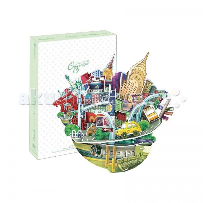 CubicFun 3D пазл Городской пейзаж Нью-Йорк3D пазл Городской пейзаж Нью-Йорк3D-пазл Cubic-Fun с городским пейзажем сделан в виде своеобразной корзинки для цветов. Роль цветов выполняют памятники архитектуры, по которым можно безошибочно определить город. Сама корзинка выполнена в виде метро и дороги, по которой едут знаменитые нью-йорские такси.   В букет достопримечательностей Нью-Йорка входит Эмпайр Стейт Билдинг, небоскребы, заполненные рекламой улочки, Макдональдс и многое другое! Пейзаж прекрасно отражает сущность этого динамичного, яркого мегаполиса.  Функции: - помогает в развитии логики и творческих способностей ребенка - помогает в формировании мышления, речи, внимания, восприятия и воображения - развивает моторику рук - расширяет кругозор ребенка и стимулирует к познанию новой информации.  Практические характеристики: - обучающая, яркая и реалистичная модель - идеально и легко собирается без инструментов - увлекательный игровой процесс - тематический ассортимент - новый качественный материал (ламинированный пенокартон).<br>