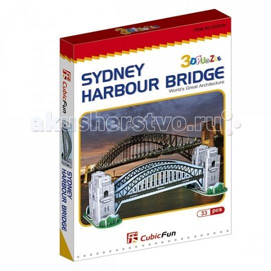Конструктор CubicFun 3D пазл Харбор Бридж (Австралия)3D пазл Харбор Бридж (Австралия)CubicFun 3D пазл Харбор Бридж (Австралия).  Сиднея. Построен мост в 1932 году. Арочный пролёт моста имеет длину 503 метра, весит стальная арка 39 000 тонн, она возвышается на 134 метра над уровнем моря.  Уровень сложности - 2.  Функции: - помогает в развитии логики и творческих способностей ребенка - помогает в формировании мышления, речи, внимания, восприятия и воображения - развивает моторику рук - расширяет кругозор ребенка и стимулирует к познанию новой информации.  Практические характеристики: - обучающая, яркая и реалистичная модель - идеально и легко собирается без инструментов - увлекательный игровой процесс - тематический ассортимент - новый качественный материал (ламинированный пенокартон).<br>