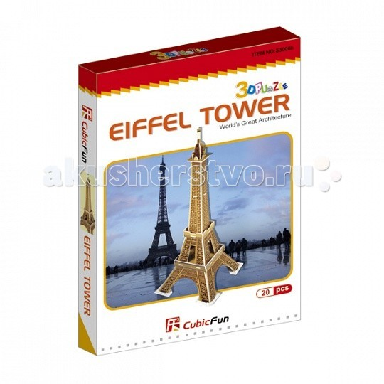 Конструктор CubicFun 3D пазл Эйфелева башня (Франция) мини серия3D пазл Эйфелева башня (Франция) мини серияCubicFun 3D пазл Эйфелева башня (Франция) мини серия.  Башня является самой узнаваемой архитектурной достопримечательностью Парижа, имеет мировую известность как символ Франции. Названа в честь своего конструктора Густава Эйфеля.  Уровень сложности - 2.  Функции: - помогает в развитии логики и творческих способностей ребенка - помогает в формировании мышления, речи, внимания, восприятия и воображения - развивает моторику рук - расширяет кругозор ребенка и стимулирует к познанию новой информации.  Практические характеристики: - обучающая, яркая и реалистичная модель - идеально и легко собирается без инструментов - увлекательный игровой процесс - тематический ассортимент - новый качественный материал (ламинированный пенокартон).<br>