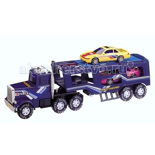 Daesung Модель машины Автовоз 806Модель машины Автовоз 806Игрушка машина автовоз  Великолепный игрушечный автовоз выполнен с максимальной детализацией.  Эта модель идентична настоящему автовозу!  Стекла кабины затонированы, слева находится труба, декоративная мигалка. реалистично выполнены фары и решетка радиатора.  Двери в кабину не открываются, боковые зеркала складываются.  Сзади к тягачу крепится большой прицеп для перевозки автомобилей, который можно отсоединять. Прицеп оснащен специальной подножкой для устойчивости во время погрузки, состоит из двух уровней.   Машины можно перевозить внизу или наверху. Автомобиль может заехать внутрь по специальному пандусу. Задний борт открывается, превращаясь в платформу для заезда на верхний ярус. В комплекте 2 легковые машины.  Грузовик Daesung оснащен инерционным механизмом движения – во время езды раздается звук работающего двигателя.  Колеса порезиненные, благодаря специальному покрытию, не оставляют следов на поверхностях.  В комплекте грузовик-тягач Отсоединяемый прицеп для перевозки автомобилей 2 легковые машинки Грузовик оснащен инерционным механизмом При движении издает звук работающего двигателя Колеса прорезинены, со специальным покрытием – не оставляют следов Боковые зеркала грузовика складываются Задний борт прицепа открывается, образуя пандус для заезда машин. Длина грузовика с прицепом – 53,5 см Высота грузовика – 16 см Длина легковых машинок – 18 см<br>