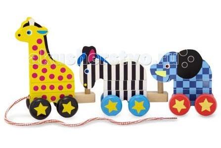 Каталка-игрушка Melissa &amp; Doug Классические игрушки Каталка ЗоопаркКлассические игрушки Каталка ЗоопаркДеревянная игрушка Melissa & Doug Классические игрушки каталка Зоопарк - яркое, прочное и конечно же увлекательное приключение для Вашего малыша.   Игрушка состоит из ярких деревянных деталей, изображающих животных из зоопарка: слона, зебру и жирафа, каждый из которых собирается из трех элементов по принципу пирамидки.   Друг к другу животные прикрепляются специальным образом в произвольном порядке. В итоге в вашем распоряжении оказывается и конструктор, и пирамидки, и каталка, и целая ватага маленьких веселых зверят. К жирафу прикреплена ниточка, за которую малышу будет удобно тянуть эту игрушку за собой. С такими друзьями прогулка малыша станет веселей и интересней.   Малыш может играть с игрушкой, как с каталкой или с конструктором. Яркая и прочная игрушка, изготовленная из дерева с ручной росписью.<br>