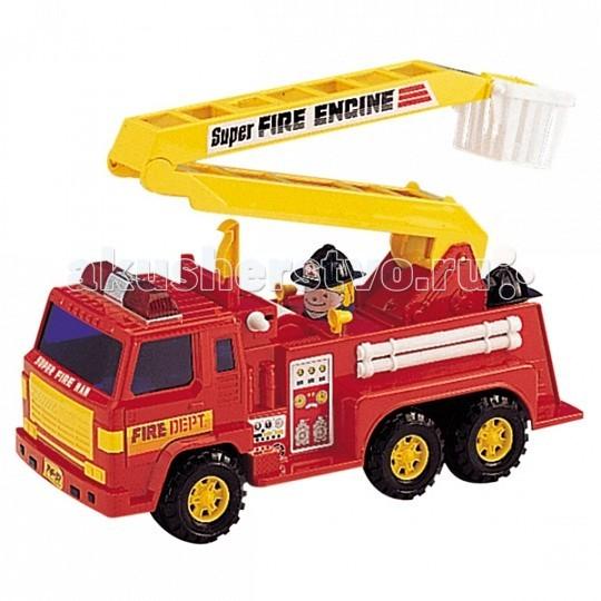 Daesung Модель Машина Пожарная 404Модель Машина Пожарная 404Игрушка машина пожарная  Машина пожарная отлично подойдет для игры на открытом воздухе и в помещении, благодаря прорезиненным накладкам на ведущих колесах. Колеса не оставляют следов на половых покрытиях.   Функции: инерционный механизм, лестница поднимается и поворачивается на 360гр.<br>