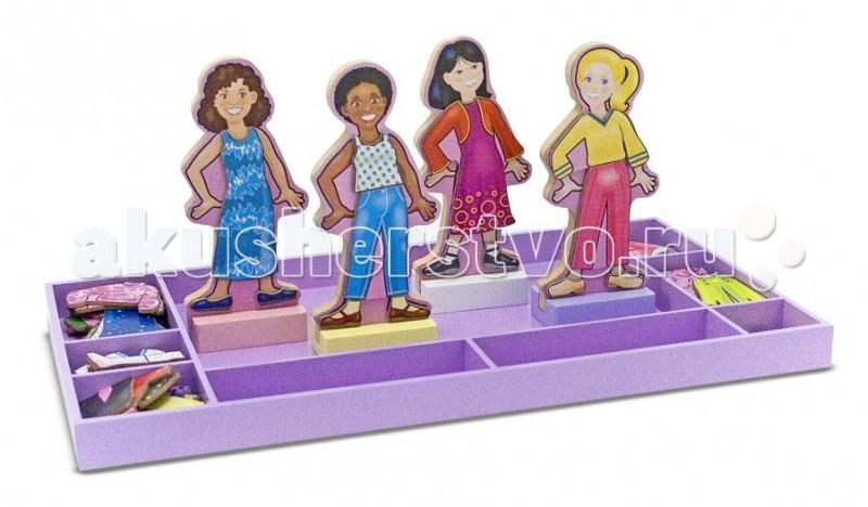 Деревянная игрушка Melissa &amp; Doug Магнитные игры Лучшие подруги навсегдаМагнитные игры Лучшие подруги навсегдаДеревянная игрушка Melissa & Doug Магнитные игры Лучшие подруги навсегда - игра для маленькой модницы. В набор входят 4 куклы и множество нарядов для них. Одежда крепится к фигуркам при помощи магнитов.  В яркой, красочной магнитной игре представлены четыре подруги Ava, Sarah, Hannah и Miaс не разлей вода вместе ходят по магазинам, вместе примеряют наряды, потом покупают их и по очереди носят самое красивое.  В игре представлен 51 элемент одежды этих маленьких модниц. Ваша любимая дочурка с удовольствием будет создавать новые наряды для своих новых подруг.<br>