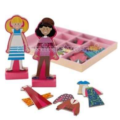Деревянная игрушка Melissa &amp; Doug Магнитные игры Одень Эббу и ЭммуМагнитные игры Одень Эббу и ЭммуДеревянная игрушка Melissa & Doug Магнитные игры Одень Эббу и Эмму - настоящий подарок маленькой моднице.  У Эбби и Эммы множество нарядов. Каждый наряд оснащен магнитом, благодаря чему он легко крепится на куклу, при этом каждый раз создавать новые наряды. Эбби и Эмма любят переодеваться и обмениваться нарядами.   Этот набор включает две деревянных, магнитных подруги на деревянной подставке и множество красочных и привлекательных магнитных деревянных нарядов и аксессуаров, необходимое для веселой игры.   Играя в эту игру ребенок учится: координировать свои движения; сочетать цвета и формы; применять свою фантазию и творческие навыки.  Детали игры безопасны и экологичны. Изготовлены из натурального дерева. Все изображения на деталях качественно окрашены и не подвержены быстрому стиранию.<br>
