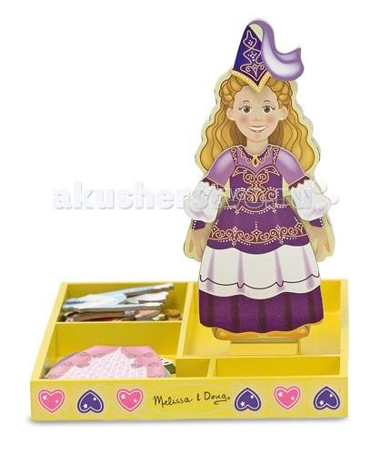 Деревянная игрушка Melissa &amp; Doug Магнитные игры Переодень принцессу ЭлисМагнитные игры Переодень принцессу ЭлисДеревянная игрушка Melissa & Doug Магнитные игры Переодень принцессу Элис - которая готова днями и ночами напролет менять свои шикарные наряды, создавая чарующие образы и пытаясь достичь совершенства.   Магнитная игра включает в себя деревянную магнитную куколку на устойчивой подставке и роскошный гардероб для нее. Все элементы одежды модницы Элис оснащены липкими к металлу магнитами, что позволяет легко и быстро менять один наряд на другой.<br>