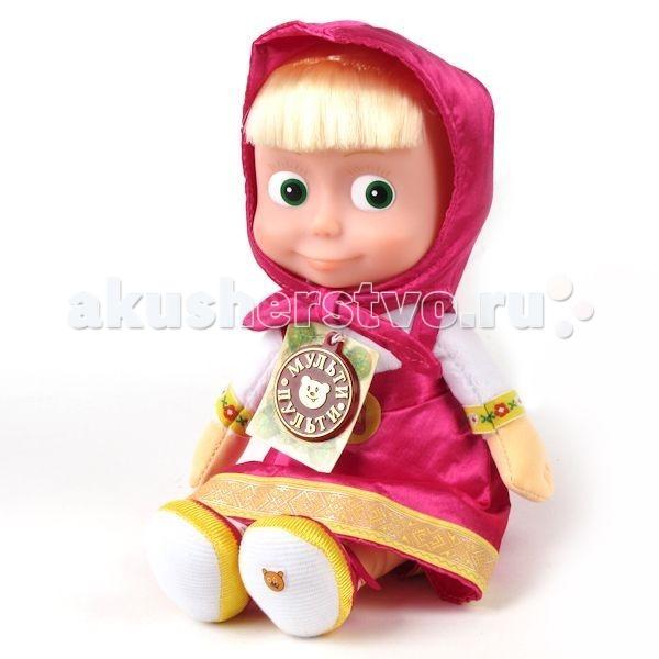 Мягкая игрушка Мульти-пульти Маша 40 смМаша 40 смМягкая игрушка Мульти-пульти Чебурашка - это любимая героиня мультфильма «Маша и Медведь». Экологически чистые материалы, из которых изготовлена игрушка, делают Машеньку безопасной даже для самых маленьких детей.  Она мягкая и очень приятная на ощупь, из-за чего ребёнок долго не захочет расставаться с русской красавицей и будет таскать её за собой повсюду.   В игрушку вмонтирован музыкальный чип, проигрывающий 6 различных фраз и песенку из любимого мультфильма.   Размеры: 40 см<br>