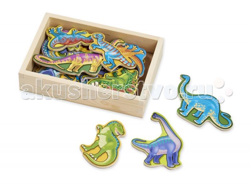 Деревянная игрушка Melissa &amp; Doug Магнитные игры Деревянные магнитные динозаврыМагнитные игры Деревянные магнитные динозаврыДеревянная игрушка Melissa & Doug Магнитные игры Деревянные магнитные динозавры - занимательная магнитная игрушка, состоящая из 20 деревянных и очень красочных фигур.   На каждой фигурке изображен динозавр определенного вида. Малыш, играя с этими фигурками, научится зрительно распознавать различные виды живых существ, а также получит навыки начального счета.  Игра развивает у ребенка: тактильные ощущения мелкую моторику зрительное восприятие творческое мышление память.  Малыш с удовольствием окунется в мир забавных динозавров и будет выдумывать разнообразные и каждый раз новые игровые истории.<br>