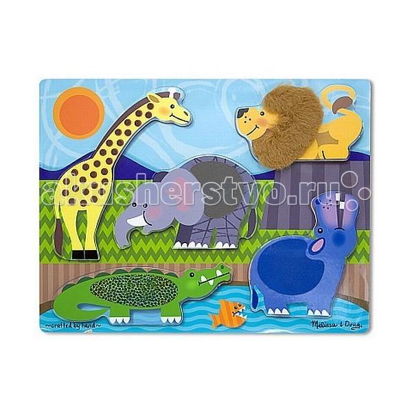 Melissa &amp; Doug Мои первые пазлы Потрогай и почувствуй Зоопарк 5 элементовМои первые пазлы Потрогай и почувствуй Зоопарк 5 элементовMelissa & Doug Мои первые пазлы Потрогай и почувствуй Зоопарк 5 эл. - благодаря этому деревянному пазлу с элементами искусственного меха диких животных на его частях, Ваш малыш на ощупь познает какая шерсть может быть, того или иного экзотического животного — чешуйчатый аллигатор и морщинистый слон.<br>