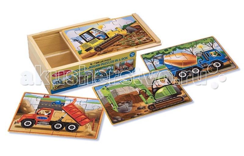 Деревянная игрушка Melissa &amp; Doug Деревянные пазлы в коробке СтроительствоДеревянные пазлы в коробке СтроительствоДеревянная игрушка Melissa & Doug Деревянные пазлы в коробке Строительство - представляет собой набор из четырех деревянных пазлов в удобной деревянной коробке с площадкой для их сбора.   Набор включает четыре деревянных пазла из 12 частей, на которых изображены бетономешалка, бульдозер, самосвал и экскаватор.   Небольшое количество элементов пазла позволят собрать его даже самым маленьким, а размеры элементов крупнее обычных помогут развить ребенку моторику ручек и логическое мышление, а большие красочные картинки поспособствуют изучению строительных машин.<br>