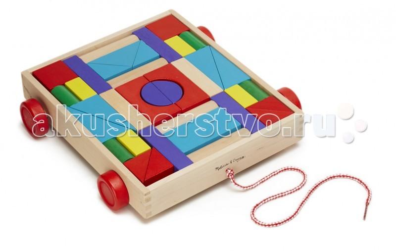 Деревянная игрушка Melissa &amp; Doug Конструктор в тележкеКонструктор в тележкеДеревянная игрушка Melissa & Doug Конструктор в тележке - яркие цвета этих 36 деревянных блоков непременно вдохновят вашего ребенка на строительство домиков, замков и крепостей. Все блоки аккуратно помещаются в прочную деревянную тележку на колесиках, которую можно возить на веревочке.<br>
