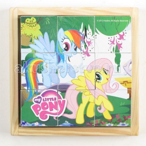 Деревянная игрушка Играем вместе Кубики My Little Pony 9 шт.