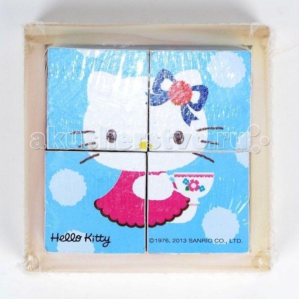 Деревянная игрушка Играем вместе Кубики Hello kitty 4 шт.