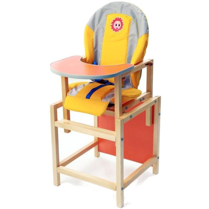 Стульчик для кормления Russia СолнышкоСолнышкоСтол — стульчик Солнышко — это комплект для кормления ребенка.  Особенности:   Отличный стул – лидер продаж. Строгое соотношение цена / качество. Чехол: курточная водоотталкивающая ткань, поролон 4 см, мягкие подлокотники. Стульчик имеет 3-х точечный ремень безопасности. Регулируемое положение спинки. Регулируемая столешница. Сборка на евровинтах. Разбирается на стул и стол. Материал: Натуральное дерево, сосна, брусок 3*3 см Покраска в 3 слоя.<br>