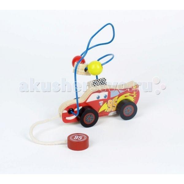 Деревянная игрушка Играем вместе Каталка-лабиринт Тачки