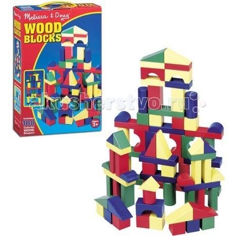 Деревянная игрушка Melissa & Doug Набор цветных блоков 100 деталей
