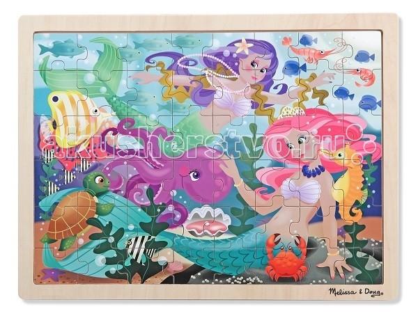 Melissa &amp; Doug Пазл перемешай и собирай РусалкаПазл перемешай и собирай РусалкаMelissa & Doug Пазл перемешай и собирай Русалка - яркая картинка с подводными принцессами понравится любой девочке, и она проведет много времени за игрой.   А после того, как пазл из 48 элементов будет собран, можно приклеить его на лист и вставить в рамку, получив красивую картину для детской комнаты. Либо посоревноваться в собирании мозаик на скорость.<br>