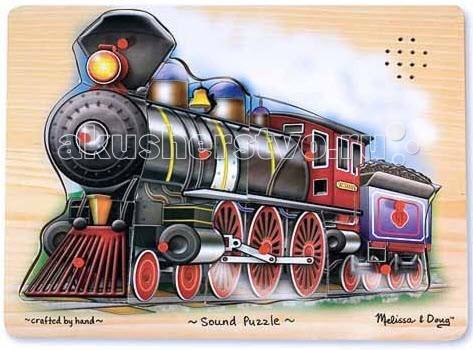 Melissa &amp; Doug Пазл со звуком ПоездПазл со звуком ПоездMelissa & Doug Пазл со звуком Поезд - собрав пазл, Ваш малыш будет в восторге,ведь поезд детально прорисован и состоит из девяти элементов!   Собрать пазл малышу помогут подсказки на доске-подложке. Если вынуть из картинки какую-либо деталь, раздастся тот или иной звук, характерный для поезда - гудок паровоза, стук колес и не только.  Для работы требуются 2 батарейки ААА (в комплект не входят).<br>