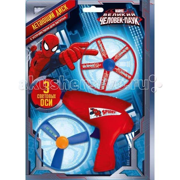 Играем вместе Летающие диски Великий Человек-паук 2361A-RЛетающие диски Великий Человек-паук 2361A-RИграем вместе Летающие диски Великий Человек-паук представляет собой детское оружие, способное запускать маленькие диски. Ими невозможно пораниться или нанести серьезную травму, поскольку выполнены они из безопасного материала.   Особенности: На оси закреплены светодиоды, и при полете получается интересный эффект. Свет также позволяет играть ими ночью и не терять.  Можно просто запустить их с размаху или воспользоваться входящим в комплект устройством.  Палец на курок, и диск отправлен в далекий полет.  А чтобы детям было интересней с ними играть, устройство украшают изображения популярного супергероя — Человека-паука.<br>