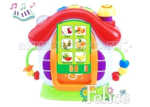Felice МультицентрМультицентрМузыкальная развивающая игрушка Мультицентр 20159 со световыми эффектами для детей от 3 лет.  Развивающий музыкальный центр, в комплекте 60 обучающих карточек на различные темы (семья, дом, животные, фрукты, овощи). На английском языке.   Игрушка выполнена из экологически чистых и безопасных материалов, упакована в нарядную коробку.  Felice - китайская компания, специализирующаяся на производстве детских колясок, ходунков, стульчиков для кормления, развивающих центров, ковриков, мобилей и музыкальных центров. Компания зарегистрирована в 2000 году и успела завоевать популярность в странах Европы, Азии и Америке. Вся продукция компании пользуется большим успехом у покупателей благодаря качественным материалам и яркому дизайну. Товары фирмы Felice поставляются в Россию оптом. Сочетание функциональности, дизайна и комфорта в использовании - основной девиз компании. Кроме того, производитель успешно сочетает умеренную цену товара с его качественным исполнением.<br>