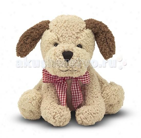 Мягкая игрушка Melissa &amp; Doug Золотистый щенок со звуком 20 смЗолотистый щенок со звуком 20 смМягкая игрушка Melissa & Doug Золотистый щенок со звуком 20 см - очень милый щенок станет замечательным другом для Вашего малыша.  При нажатии на живот щенок лает.  Маленький забавный щенок с красным клетчатым бантом, при нажатии на живот может издавать звуки.<br>