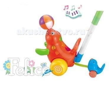 Каталка-игрушка Felice с ручкой Морской котикс ручкой Морской котикИгрушка развивающая каталка с ручкой Felice Морской котик арт. 19162 для детей от 1 года. Музыкальная, со светоэффектами.  Игрушка выполнена из экологически чистых и безопасных материалов, упакована в нарядную коробку.  Felice - китайская компания, специализирующаяся на производстве детских колясок, ходунков, стульчиков для кормления, развивающих центров, ковриков, мобилей и музыкальных центров. Компания зарегистрирована в 2000 году и успела завоевать популярность в странах Европы, Азии и Америке. Вся продукция компании пользуется большим успехом у покупателей благодаря качественным материалам и яркому дизайну. Товары фирмы Felice поставляются в Россию оптом. Сочетание функциональности, дизайна и комфорта в использовании - основной девиз компании. Кроме того, производитель успешно сочетает умеренную цену товара с его качественным исполнением.<br>