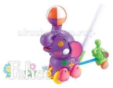 Каталка-игрушка Felice с ручкой Слоник