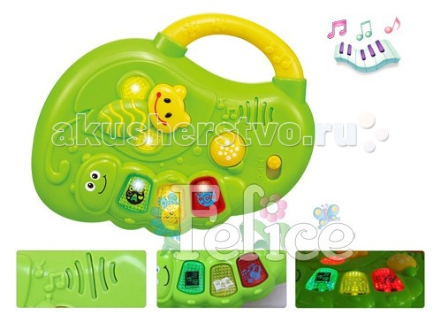 Felice Музыкальная развивающая игрушка ГусеницаМузыкальная развивающая игрушка ГусеницаМузыкальная развивающая игрушка Гусеница артикул 6654 со световыми эффектами.  Игрушка способствует развитию моторики, мышления, изучению цветов и форм, восприятию звуков. Для работы игрушки потребуются батарейки АА (в комплект не входят).  Felice - китайская компания, специализирующаяся на производстве детских колясок, ходунков, стульчиков для кормления, развивающих центров, ковриков, мобилей и музыкальных центров. Компания зарегистрирована в 2000 году и успела завоевать популярность в странах Европы, Азии и Америке. Вся продукция компании пользуется большим успехом у покупателей благодаря качественным материалам и яркому дизайну. Товары фирмы Felice поставляются в Россию оптом. Сочетание функциональности, дизайна и комфорта в использовании - основной девиз компании. Кроме того, производитель успешно сочетает умеренную цену товара с его качественным исполнением.<br>
