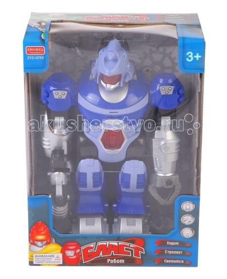 Zhorya Игровой робот БластИгровой робот БластИгровой робот Бласт Zhorya - это интересная игрушка со множеством функций и с эффектами. Робот выглядит как разработанный для боевого применения, в его руке есть оружие. Игрушка русифицирована, робот произносит несколько фраз. Игрушка может двигаться вперед, руки и голова робота подвижны. Отдельные элементы робота созданы из ярко-голубого полупрозрачного пластика. За шлемом можно разглядеть глаза робота. Благодаря реалистичной внешности и движениям, робот «Бласт» произведет впечатление на ребенка!<br>