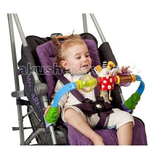 Taf Toys Дуга для прогулочной коляски 11475Дуга для прогулочной коляски 11475Дуга для прогулочной коляски 11475 с персонажем Kooky.  Гибкая красочная дуга с подвижными игрушками: прозрачный шарик-погремушка, фонарик с эффектом призмы, Kooky игрушка.   Удобные пластиковые клипсы позволят Вам без всяких усилий закрепить дугу на переноске или коляске.  Красочный дизайн и контрастные цвета стимулируют чувственное восприятие и развитие малыша.  Размеры: 24 x 8 x 42 см<br>