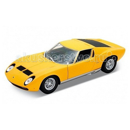 Welly Модель машины 1:18 Lamborghini MiuraМодель машины 1:18 Lamborghini MiuraМодель машины 1:18 Lamborghini Miura  Коллекционная модель машины масштаба 1:18 Lamborghini Miura.  Функции: открываются передние двери, капот, багажник, поворотом руля поворачиваются передние колеса.<br>