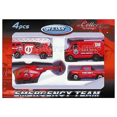 Welly Набор Служба спасения - пожарная команда 4 шт.Набор Служба спасения - пожарная команда 4 шт.Набор Служба спасения - пожарная команда 4 шт.  Размер машин: 8 см<br>