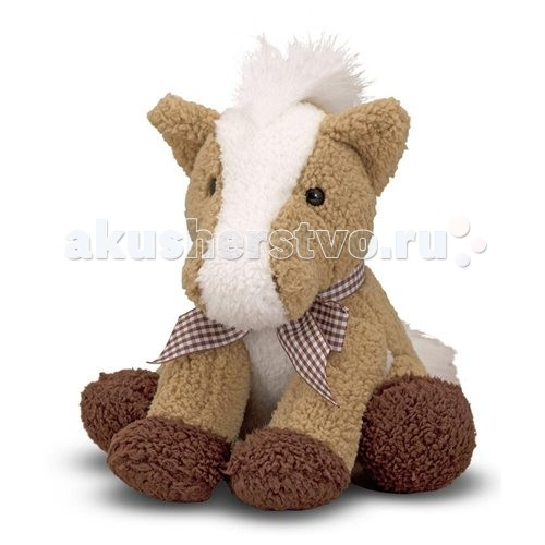 Мягкая игрушка Melissa &amp; Doug Пони со звукомПони со звукомМягкая игрушка Melissa & Doug Пони со звуком - маленькая лошадка с клетчатым бантом, станет замечательным другом Вашей крохе.   Нажмите на животик этому забавному пони, то Вы услышите Иго - го. У него очень пушистые грива и хвост, белого цвета, а сам он коричневый и очень мягкий, приятный на ощупь.   Ваш малыш не захочет выпускать такого забавного пони из рук.<br>