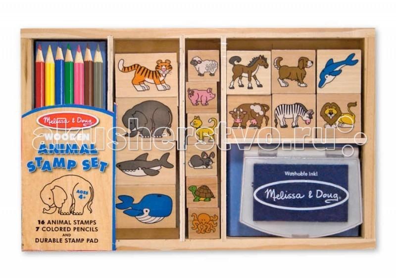 Melissa &amp; Doug Большой набор печатей ЖивотныеБольшой набор печатей ЖивотныеMelissa & Doug Большой набор печатей Животные - способствуют развитию логического мышления, зрительной памяти, координации движений, развлекают Вашего малыша.  Украсить изображениями любимых животных свой альбом, Вашему малышу поможет набор печатей Животные.  В него входит: нетоксичная штемпельная подушечка с нетоксичными, легко смываемыми чернилами фиолетового цвета 16 печатей с изображениями различных животных: диких и домашних, жителей моря и суши  набор карандашей - 7 цветов. Чернила с печатей смываются, благодаря чему ребенок может неоднократно создавать яркие, разноцветные и веселые картинки деревянная коробка с несколькими отсеками.<br>