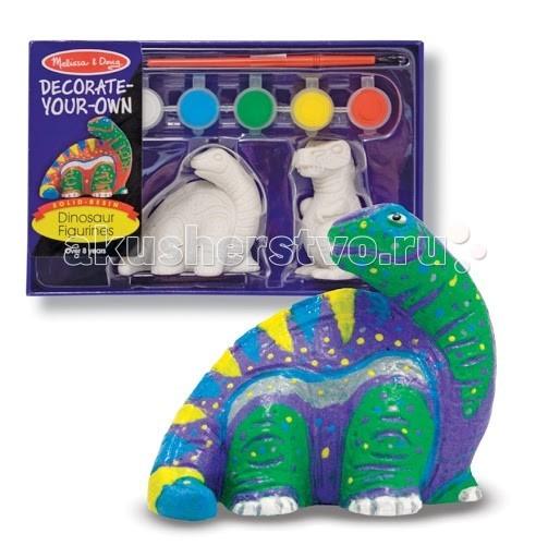 Melissa &amp; Doug Набор Разукрась фигурку динозавраНабор Разукрась фигурку динозавраMelissa & Doug Набор Разукрась фигурку динозавра - набор для творчества.   В набор входит статуэтки динозавров Тираннозавр и Трицератопс, краски 6 разных цветов и кисточка.   Игрушка не только способна занять ребенка, она поможет развить у ребенка творческие навыки и тягу к рисованию.<br>