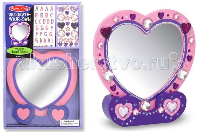 Melissa &amp; Doug Набор Создай свое зеркальце-сердечкоНабор Создай свое зеркальце-сердечкоMelissa & Doug Набор Создай свое зеркальце-сердечко - прекрасно отразит творчество Вашего ребенка.   Буквы-наклейки, разноцветные камушки круглой формы и в форме сердечек помогут Вашему малышу создать из деревянной заготовки розового цвета, входящей в набор, неповторимое и уникальное зеркальце на подставке.  Все это поможет Вашему ребенку создать из деревянной заготовки неповторимое и уникальное зеркальце на подставке.<br>