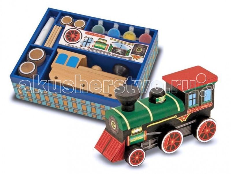 Melissa &amp; Doug Набор Создай свой собственный поезд 12381Набор Создай свой собственный поезд 12381Melissa & Doug Набор Создай свой собственный поезд 12381 -отличный набор, хранящийся в удобном деревянном ящичке. Игрушечный паровозик, который нужно сделать своими руками.  Удобный лоток содержит все, чтобы создать собственный игрушечный паровоз!   В наборе: деревянная модель поезда деревянные оси колеса краски кисти наклейки клей.  Колеса, оси, корпус легко собираются ребенком в великолепный паровозик.<br>