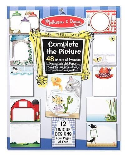 Melissa &amp; Doug Набор Создай свою картинуНабор Создай свою картинуMelissa & Doug Набор Создай свою картину - на длительное время завладеет вниманием Вашего малыша и поможет ему в развитии творческих способностей.  Малышу предлагается на выбор 12 сценок, частично прорисованные. А додумать и дорисовать то, что еще должно быть на той или иной картинке, малыш должен сам.  В этом наборе 48 страниц из плотной бумаги, каждая сценка повторяется 4 раза. Поэтому, если у малыша не получился рисунок с первого раза, можно попробовать еще. Или же можно каждую сценку дорисовывать по-разному, получая разные картинки!<br>
