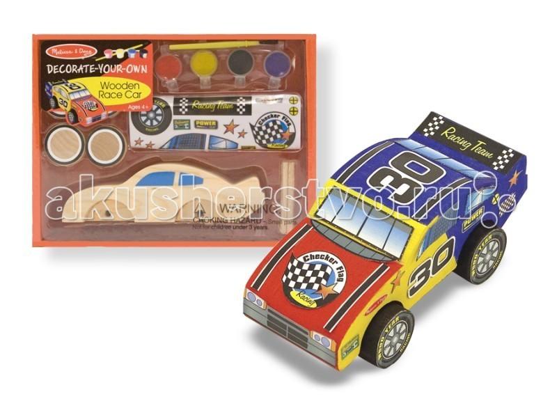 Melissa &amp; Doug Набор Создай свою собственную гоночную машинуНабор Создай свою собственную гоночную машинуMelissa & Doug Набор Создай свою собственную гоночную машину - входят наклейки гоночной тематики, краски с кисточкой, клей и модель автомобиля в разобранном виде.   Колеса, оси, корпус легко собираются в гоночную машинку. Благодаря краске и наклейкам, входящим в набор, Ваш ребенок сможет создать свой индивидуальный и неповторимый гоночный автомобиль.<br>
