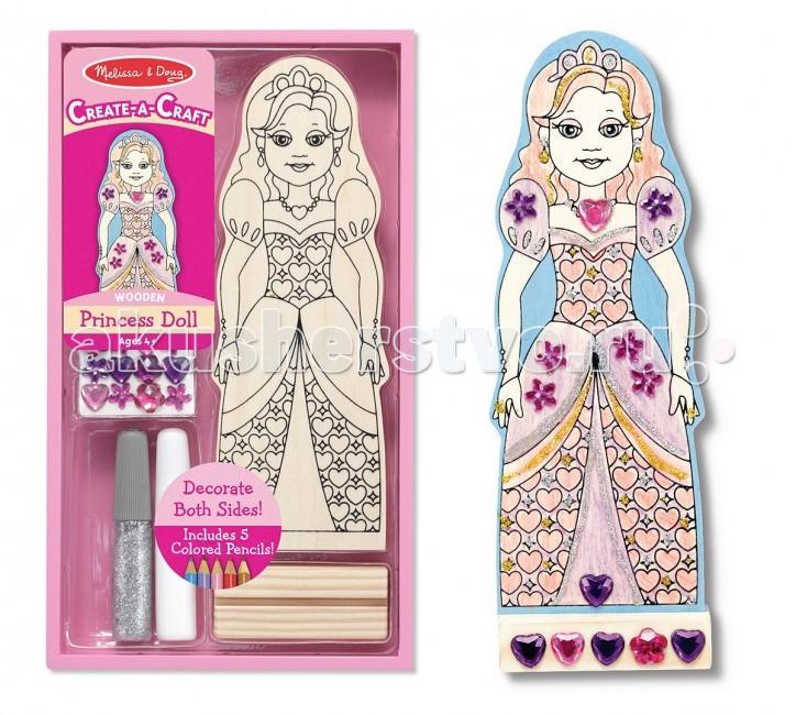 Melissa &amp; Doug Набор для творчества ПринцессаНабор для творчества ПринцессаMelissa & Doug Набор для творчества Принцесса - все малыши любят раскраски.   Предложите Вашей малышке раскрасить настоящую куклу-принцессу.  В наборе: деревянная кукла, подставка, цветные карандаши, блестки, стразы.<br>