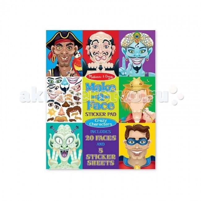 Melissa &amp; Doug Набор стикеров Лица - Безумные героиНабор стикеров Лица - Безумные героиMelissa & Doug Набор стикеров Лица - Безумные герои - наклейте разнообразные стикеры с эмоциями на лица в альбоме.  Этот огромный набор наклеек содержит 20 листов с изображением лиц сказочных, неземных, героических личностей. С помощью 160 наклеек - глаза, брови, губы, аксессуары, Ваш малыш сможет создать яркие образы Супермена, Пирата, инопланетянина и многих других.  Этот набор для творчества способствует развитию творческого мышления, художественных навыков и чувству вкуса.<br>
