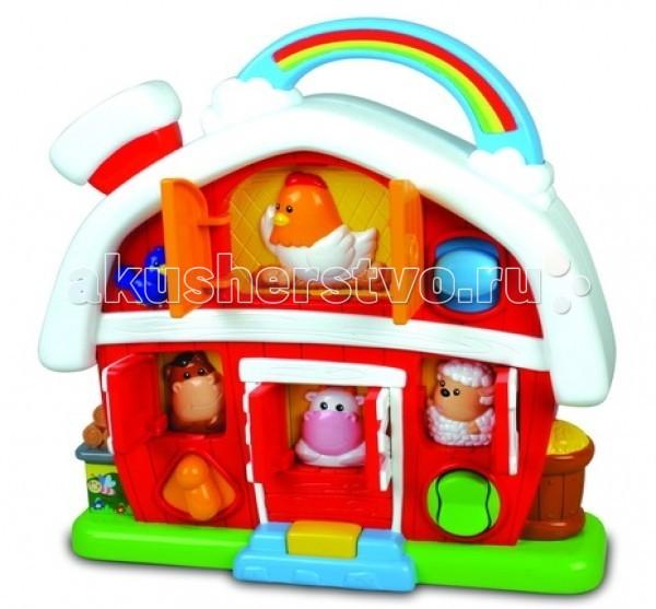 Музыкальная игрушка Unimax Дом-фермаДом-фермаМузыкальная игрушка Unimax Дом-ферма - занимательная игрушка для любознательных малышей. Яркий домик-ферма со множеством дверей и окошек увлечет Вашего малыша мелодиями и звуками.   Если нажать на кнопку, откроется окошко, за которым прячется животное: овечка, лошадка, курочка или корова. Игра сопровождается имитацией звука, что издает животное, кроме того, животное рассказывает о себе на английском языке. Если окошко закрыть, играет мелодия.   На пороге дома малыша встретит улыбающаяся корова, а из окошка на чердаке будет выглядывать курочка.  Батарейки 2 х АА (есть в комплекте).<br>