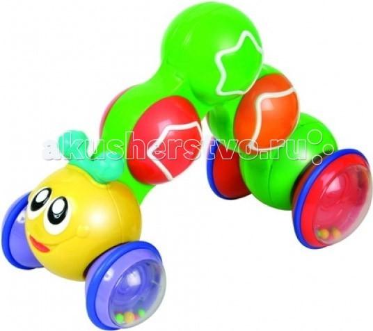 Развивающая игрушка Unimax Гусеница нажми, чтобы ехатьГусеница нажми, чтобы ехатьUnimax Гусеница нажми, чтобы ехать - Ваш малыш будет доволен таким подарком, ведь гусеница приводится в движение простым нажатием на нее, игрушка начинает двигаться и издает забавные звуки.   Гусеница имеет цветные подвижные шарики, стимулирует ребёнка к ползанью.  Выполнена из высококачественного пластика яркого желтого цвета.<br>