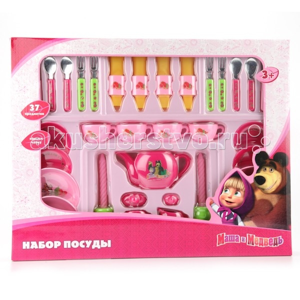 Играем вместе Набор посуды Маша и Медведь B918961-RНабор посуды Маша и Медведь B918961-RИграем вместе Набор посуды Маша и Медведь состоит из 37 предметов » есть все необходимое, чтобы устроить грандиозное чаепитие, на которое можно пригласить всех своих куколок и игрушек.   Главное отличие детской посуды от взрослой – в том, что ее нельзя разбить, а значит, подарив ребенку такой набор, вы можете быть спокойны за любимый сервиз своей бабушки. Ведь девочка уже не будет просить вас дать ей поиграть именно с ним!<br>