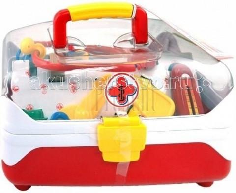 Klein Набор доктора в прозрачном контейнереНабор доктора в прозрачном контейнереНабор доктора в прозрачном контейнере.  Набор для доктора, подготовленный немецкой компанией Klein, включает в себя различные медицинские инструменты, необходимые медработникам и упакованные в компактный пластиковый чемоданчик с прозрачной крышкой и удобной ручкой для транспортировки.  В комплект входят градусник, шприц, пинцет, бланки рецептов, медицинский молоточек, ножницы, табличка доктора, баночка для лекарств, стетоскоп-наушники и другие предметы, завладев которыми маленький доктор сможет существенно повысить эффективность своего лечения, в скорый срок поставив на ноги своих прохворавших солдатиков или кукол. Такой игровой набор не только позволит малышу с интересом просвети время, но и проникнуться уважением к профессии, перестать бояться врачей, развить мелкую моторику логическое мышление, память, коммуникабельность.  В наборе разнообразные инструменты для игры в доктора: градусник ножницы медицинский молоточек шприц пинцет табличка доктора бланки рецептов баночка для лекарств стетоскоп-наушники.<br>