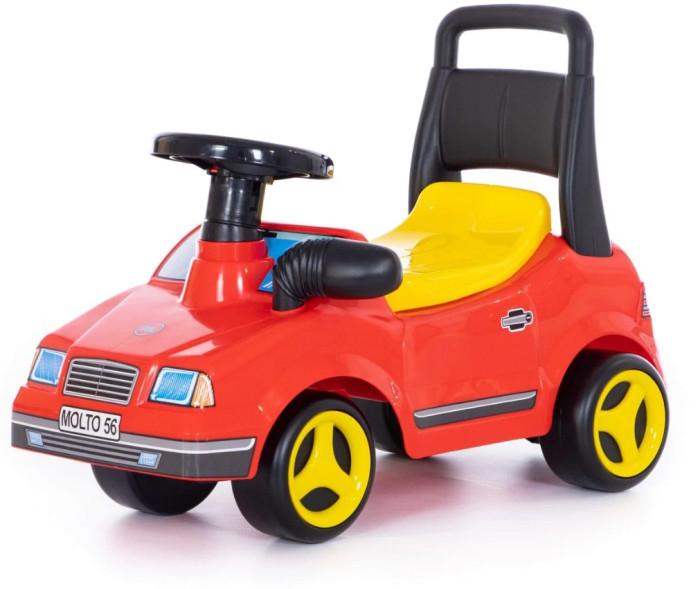 Каталка Molto Вихрь (со звуковым сигналом)Вихрь (со звуковым сигналом)Каталка Molto Вихрь выполнена в спортивном стиле и напоминает гоночный автомобиль, оснащен музыкальным рулем. Каталка имеет открывающийся багажник и вращающийся руль со звуковым сигналом.   Машинки-каталки всегда были любимы и детьми, и взрослыми. Они способны решать любые задачи.  Особенности: Колеса диаметром 15 см.  Джип может быть ходунками и машинкой-каталкой. Ходунки для детей от 10 месяцев. Благодаря специальной ручке за сиденьем каталки, ребенок может опираться на машинку и делать свои первые шаги. Машинка-каталка для самостоятельного использования малышами от 12 месяцев. Эта машинка идеально подходит для катания дома, на детских площадках, во дворах и парках.  Под откидным сиденьем каталки имеется багажное отделение, в которое Ваш ребёнок может сложить свои любимые игрушки, которые понадобятся ему в его путешествии.  Во время езды ему будет интересно наблюдать в боковое зеркало заднего вида, ведь точно такое зеркало установлено и в настоящем автомобиле - малыш почувствует себя водителем настоящего авто.  Каталка Вихрь способна развить у Вашего малыша пространственное и зрительное восприятие окружающего мира, любознательность, внимание и развивать малыша физически.  Все детали выполнены из качественной пластмассы.  Идеальный европейский пластик, не подверженный выгоранию на солнце и деформации от перепада температур.  Рекомендуется для детей от 10 месяцев.  Максимальная нагрузка - 25 кг.<br>