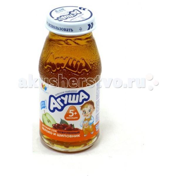 Агуша Сок осветлённый без сахара Яблоко и шиповник 150 мл