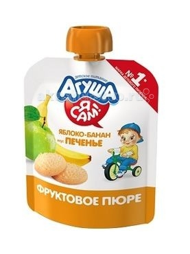 Агуша Фруктовое пюре Я сам! Яблоко-банан-печенье 90 г