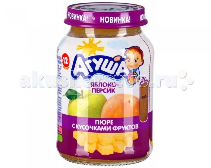 Агуша Пюре с кусочками фруктов Яблоко-персик 190 г